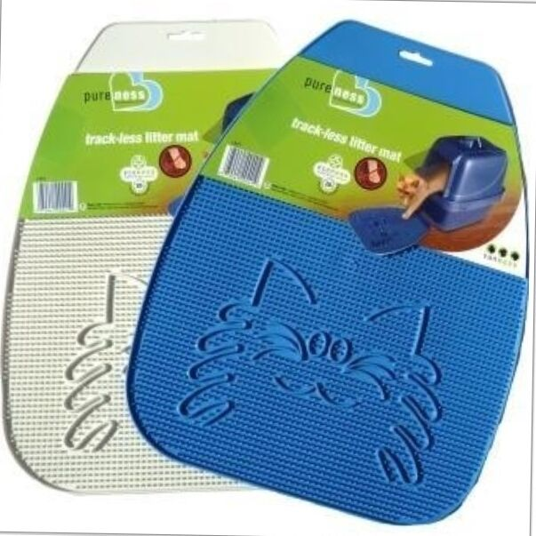 Van Ness Track-less Litter Tray Mat removes cat pan litter from paws 2 colours