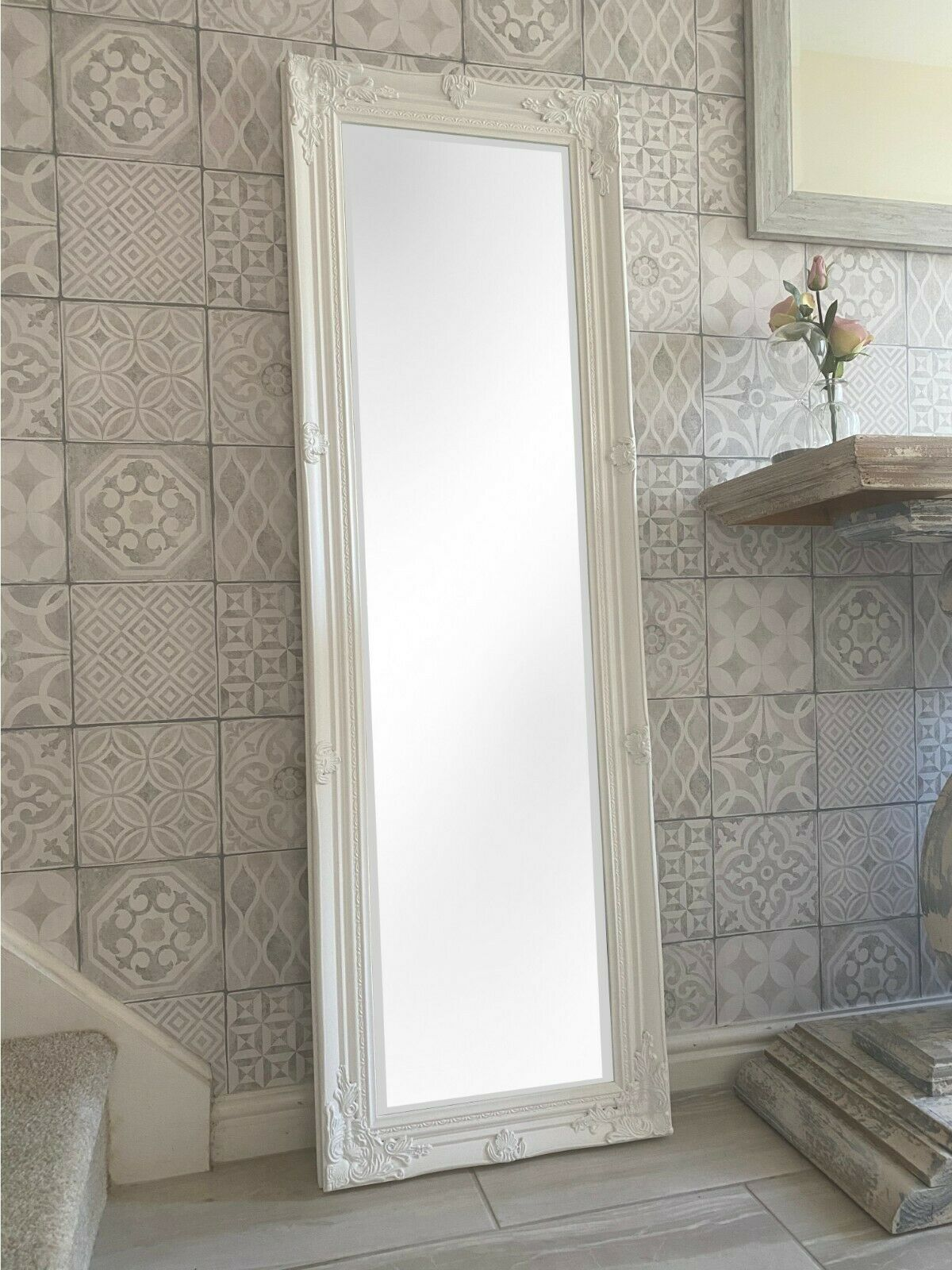 Tall antique white dressing room full length floor wall for White tall wall mirror