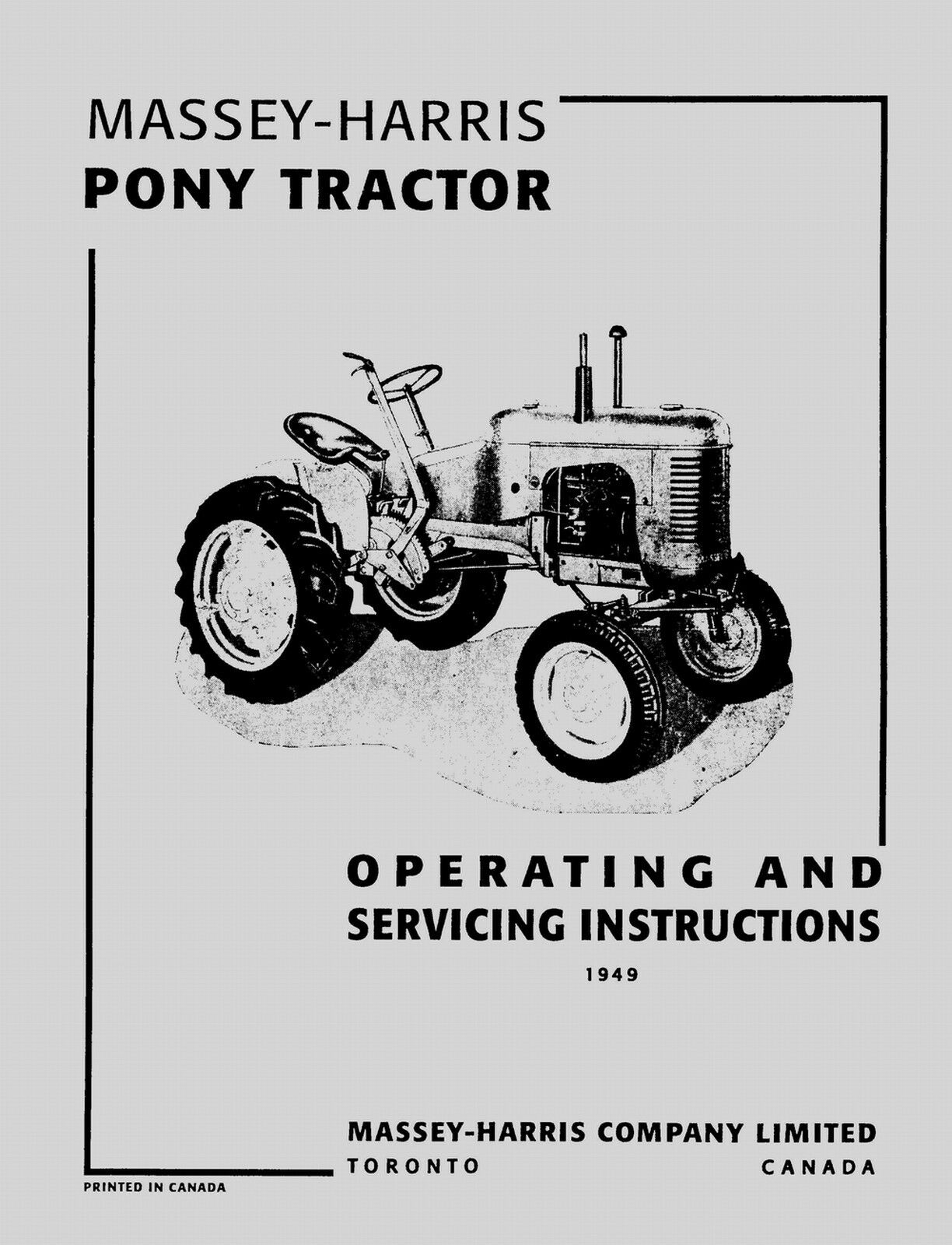 Massey-Harris Pony Tractor Operating & Service Manual 1 of 1FREE Shipping  ...