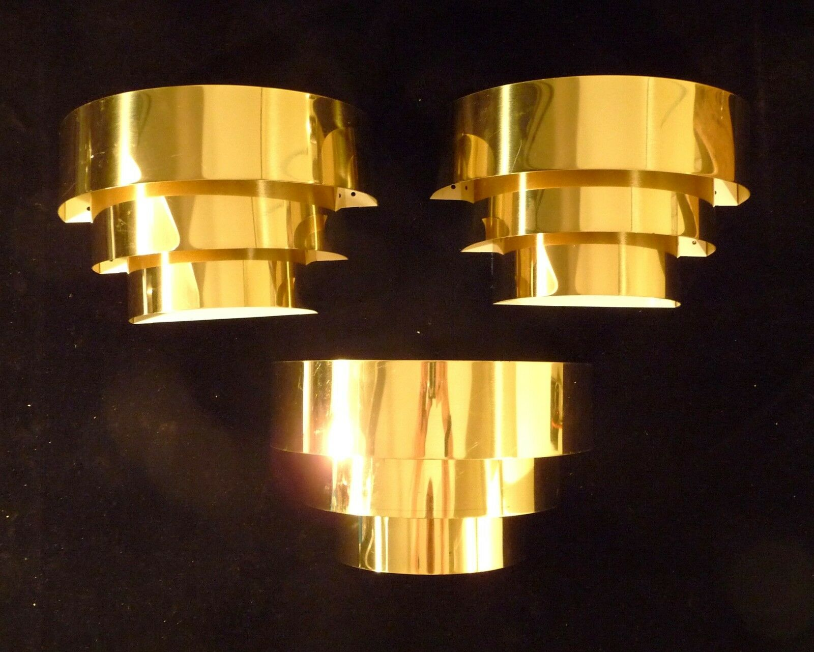 ART DECO REVIVAL STEPPED BRASS WALL SCONCES LIGHTS 1 of 3 - $245.00 ...