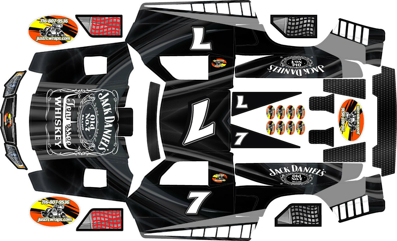 Hpi Baja 5t And 5sc Black Jack Theme Body Wrap Decals Stickers Skins Dji Mavic Pro Usaf Shark 1 Of 1only 3 Available