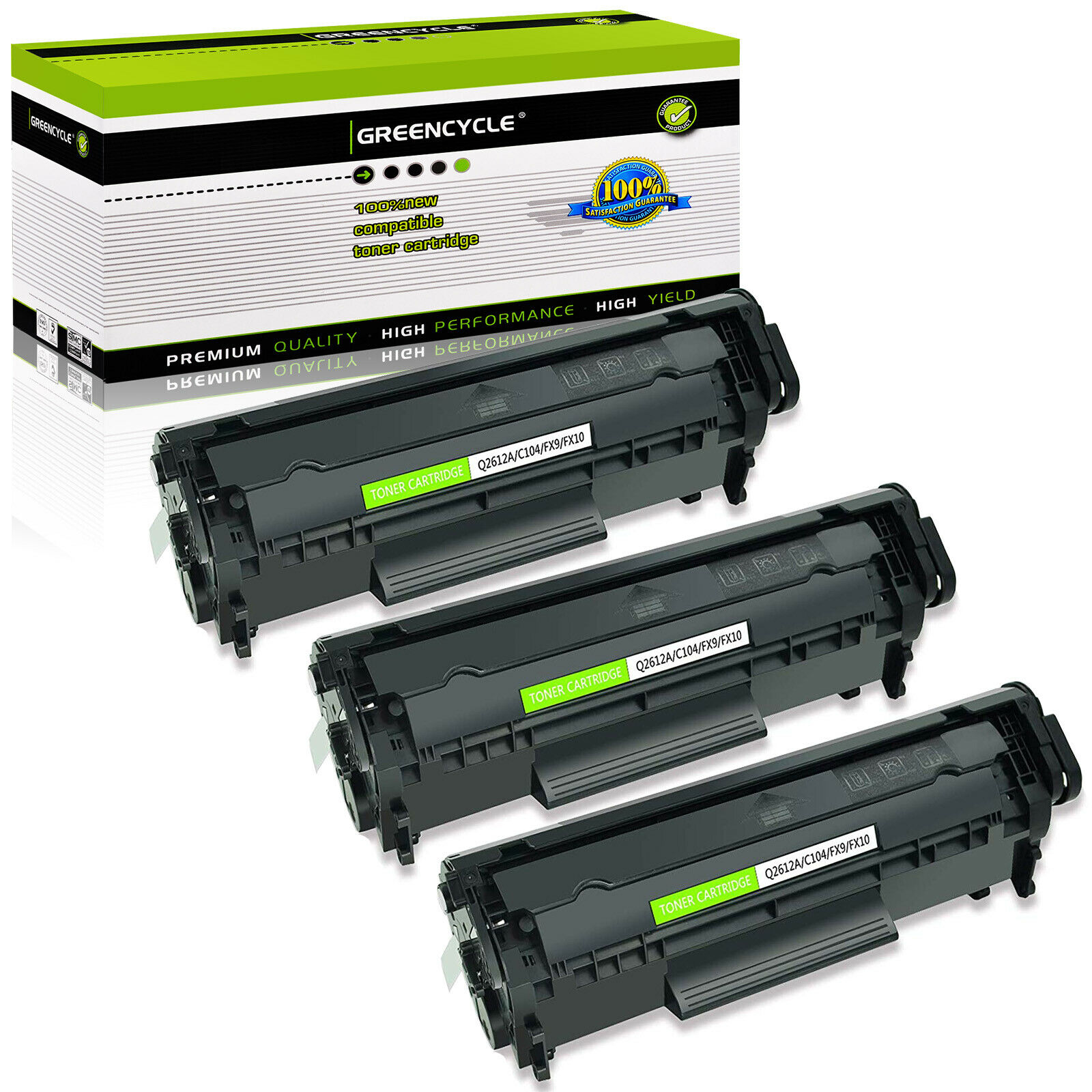 3pk Q2612a 12a Toner Cartridge Compatible For Hp Laserjet 1022 3015 3055 Printer 1 Of 7free Shipping