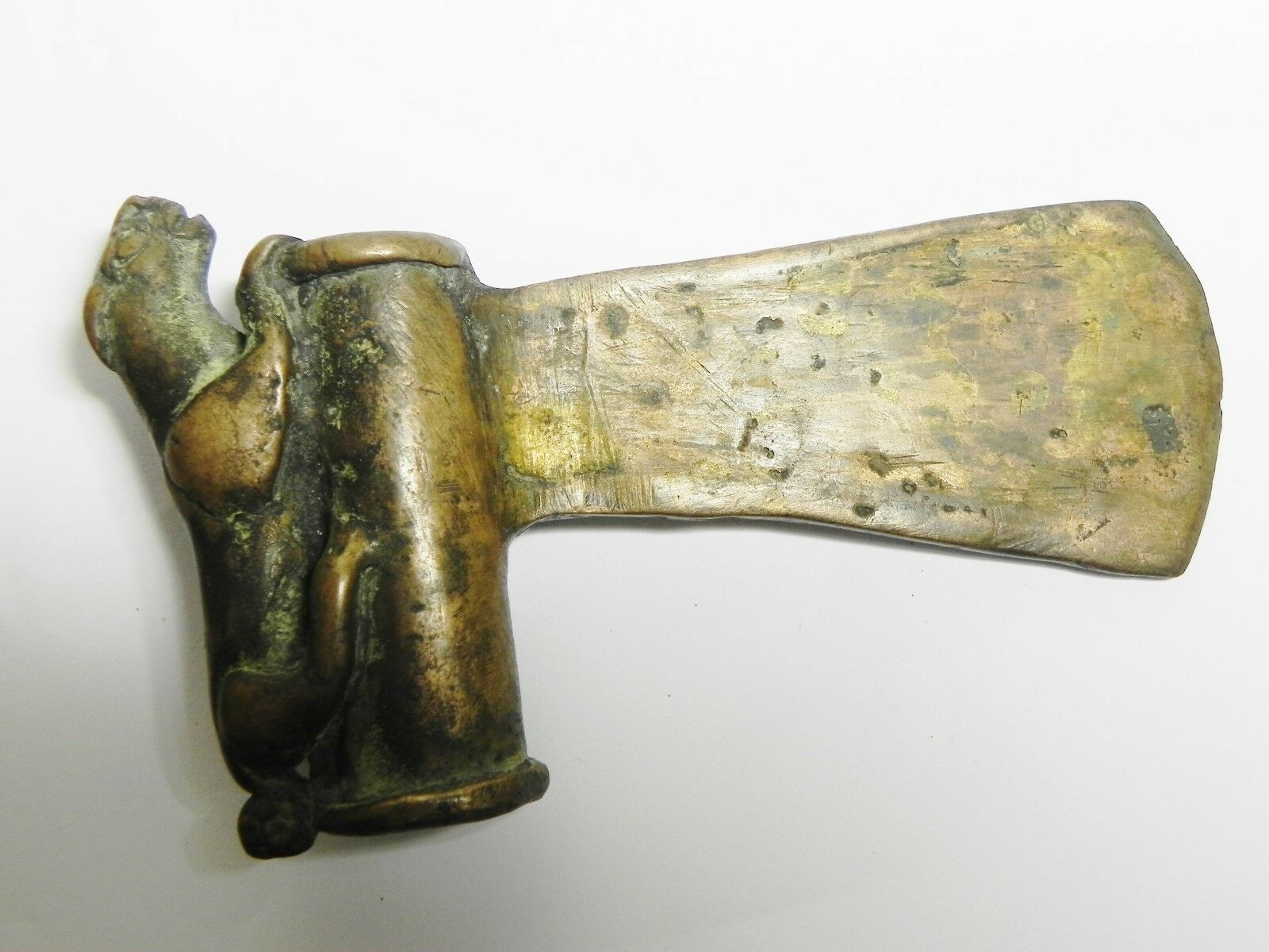 Zurqieh - Luristan Bronze Axe, Decorated With A Lion, 1200 B.c