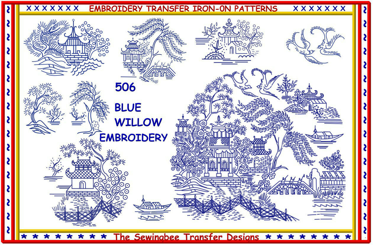 506 Blue Willow Embroidery Transfer Pattern Iron On Transfers