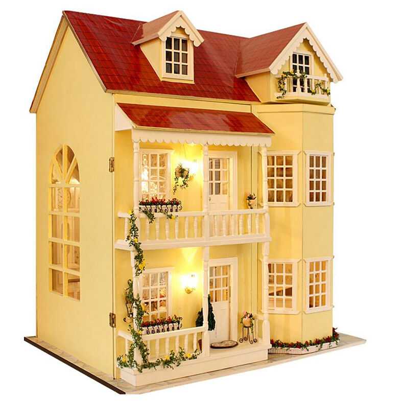 Diy handcraft miniature project kit wooden dolls house led for Uk house music