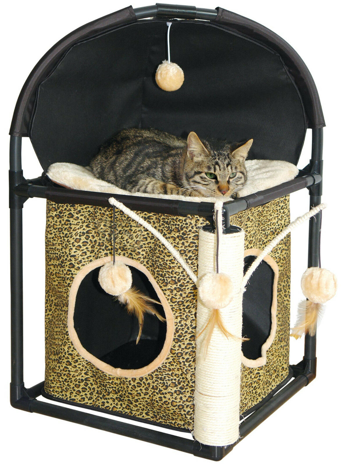katzenkratzbaum mit sisalstamm h hle 4 b lle leopard katzenbaum kratzbaum katzen eur 39 99. Black Bedroom Furniture Sets. Home Design Ideas