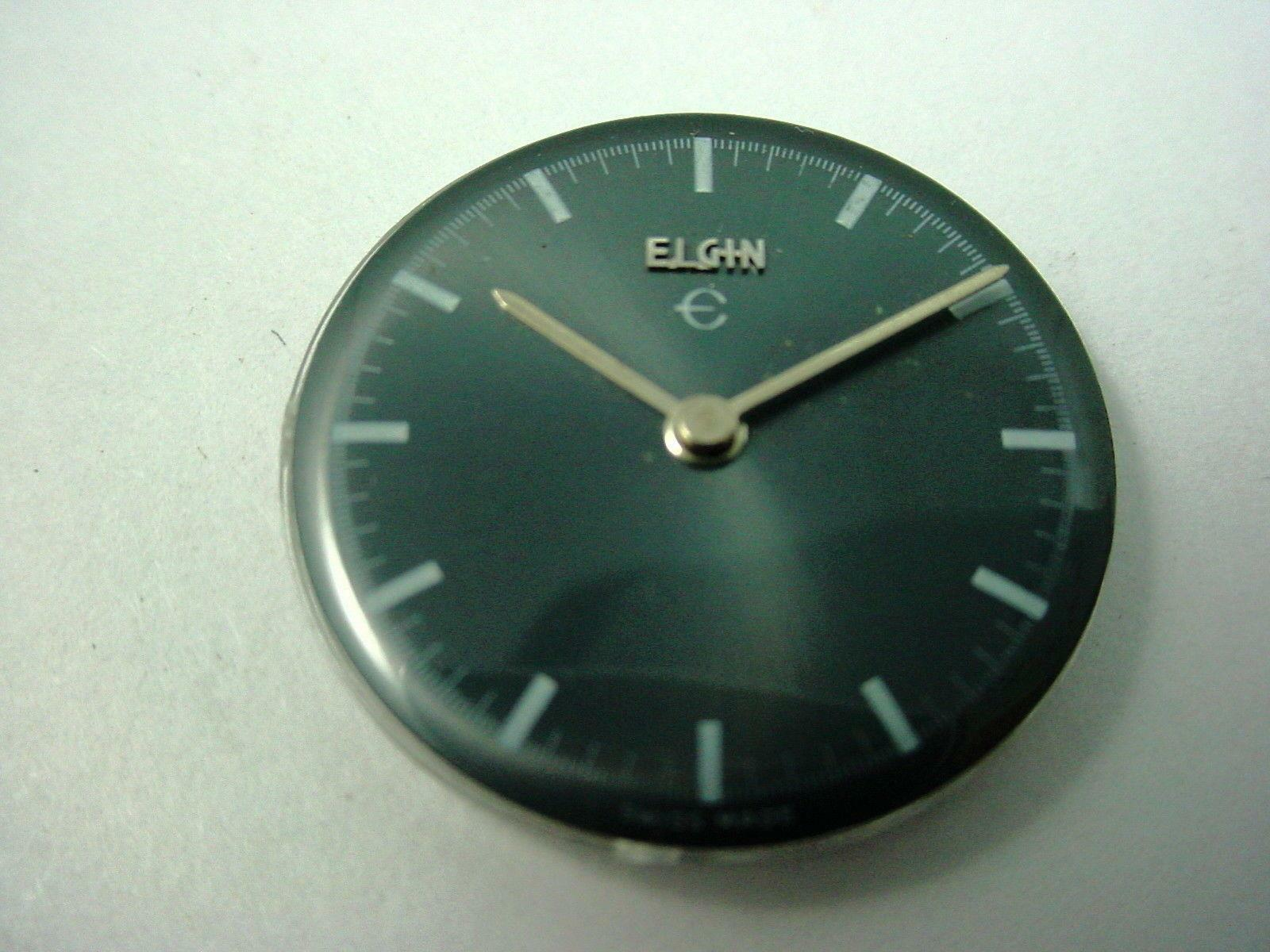 Silvery Gray Elgin Watch Dial Vintage 23.6mm Base & Hands White Stick Markers