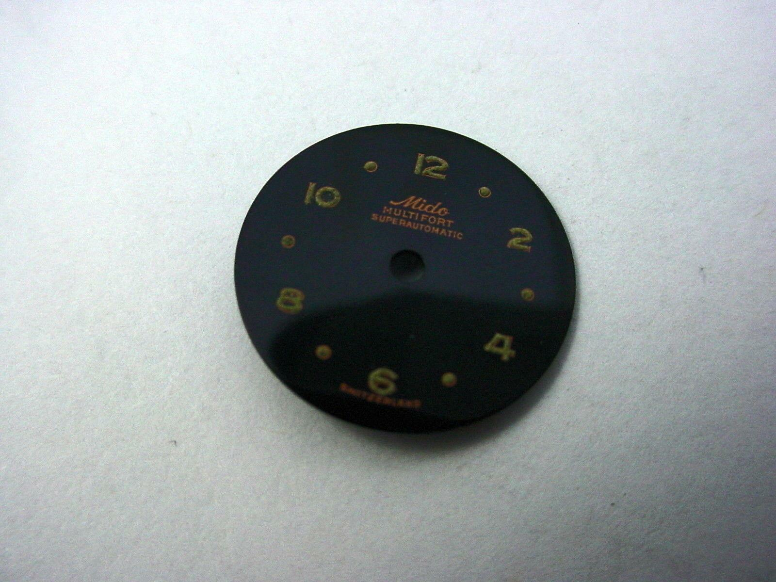 Superautomatic Multifort Mido Vintage Watch Dial Black 16.51mm Numeral & Dot Mrk