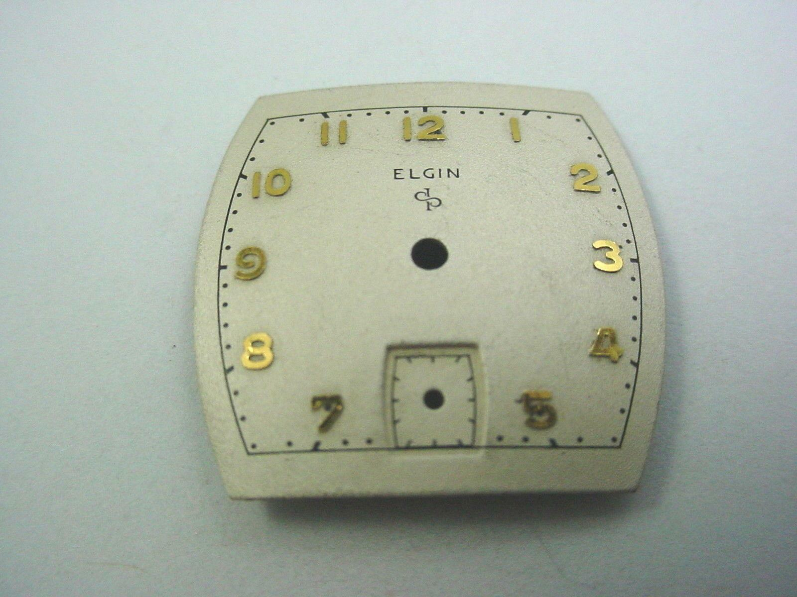 Vintage Elgin Pearl Watch Dial 22.26mm X 22.19mm Subdial 7mm Gold Numeral Markrs