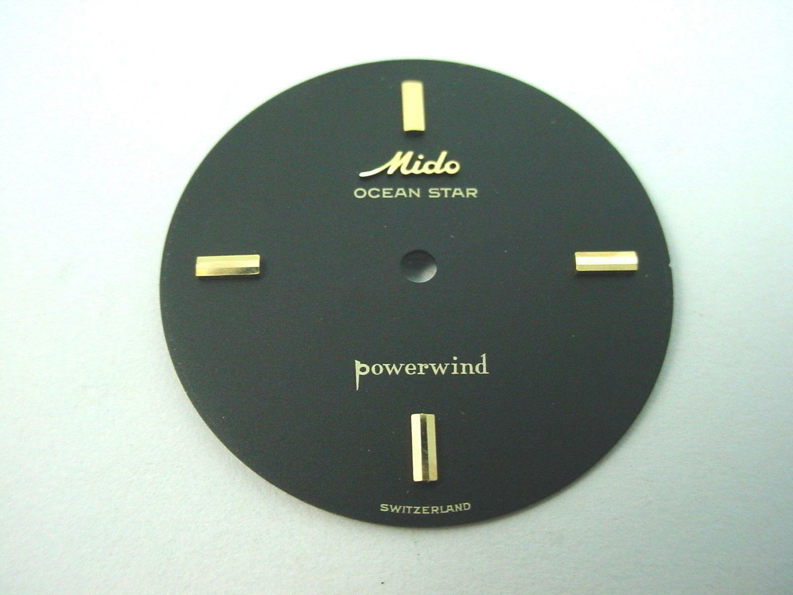Mido Black 27.21mm Powerwind Ocean Star Watch Dial Vintage Gold Stick Markers
