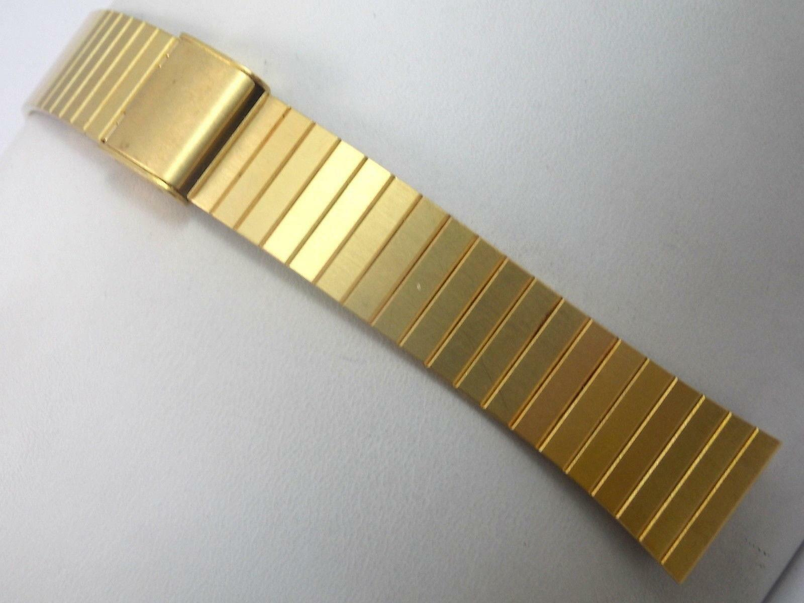 """Gold Tone Stainless Steel Mens Vintage Watch Band Sliding Clasp 16mm 5/8"""" NOS"""