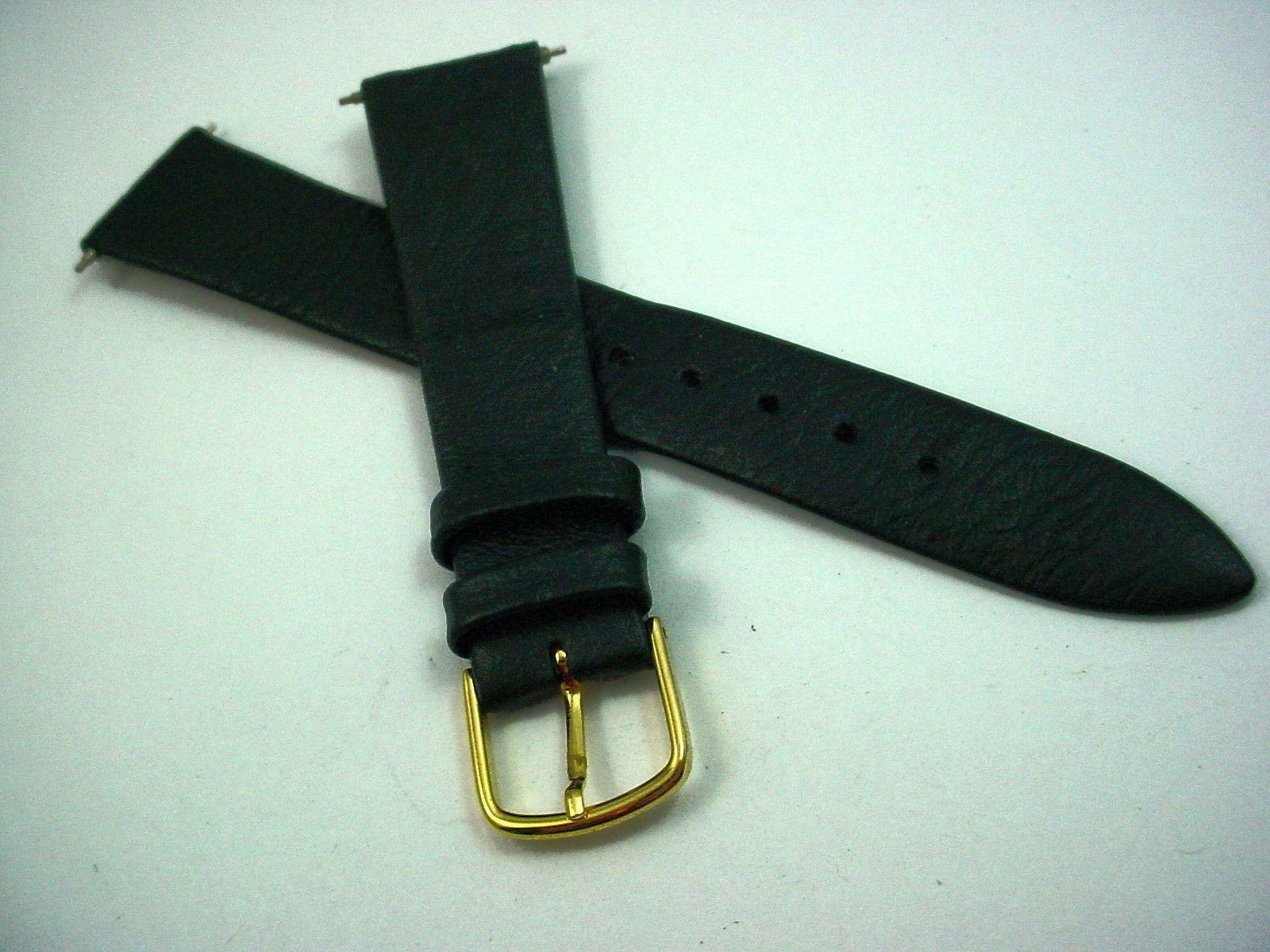 Speidel 18mm Mens Vintage Watch Band Black Leather Gold Tone Buckle New Old Stck