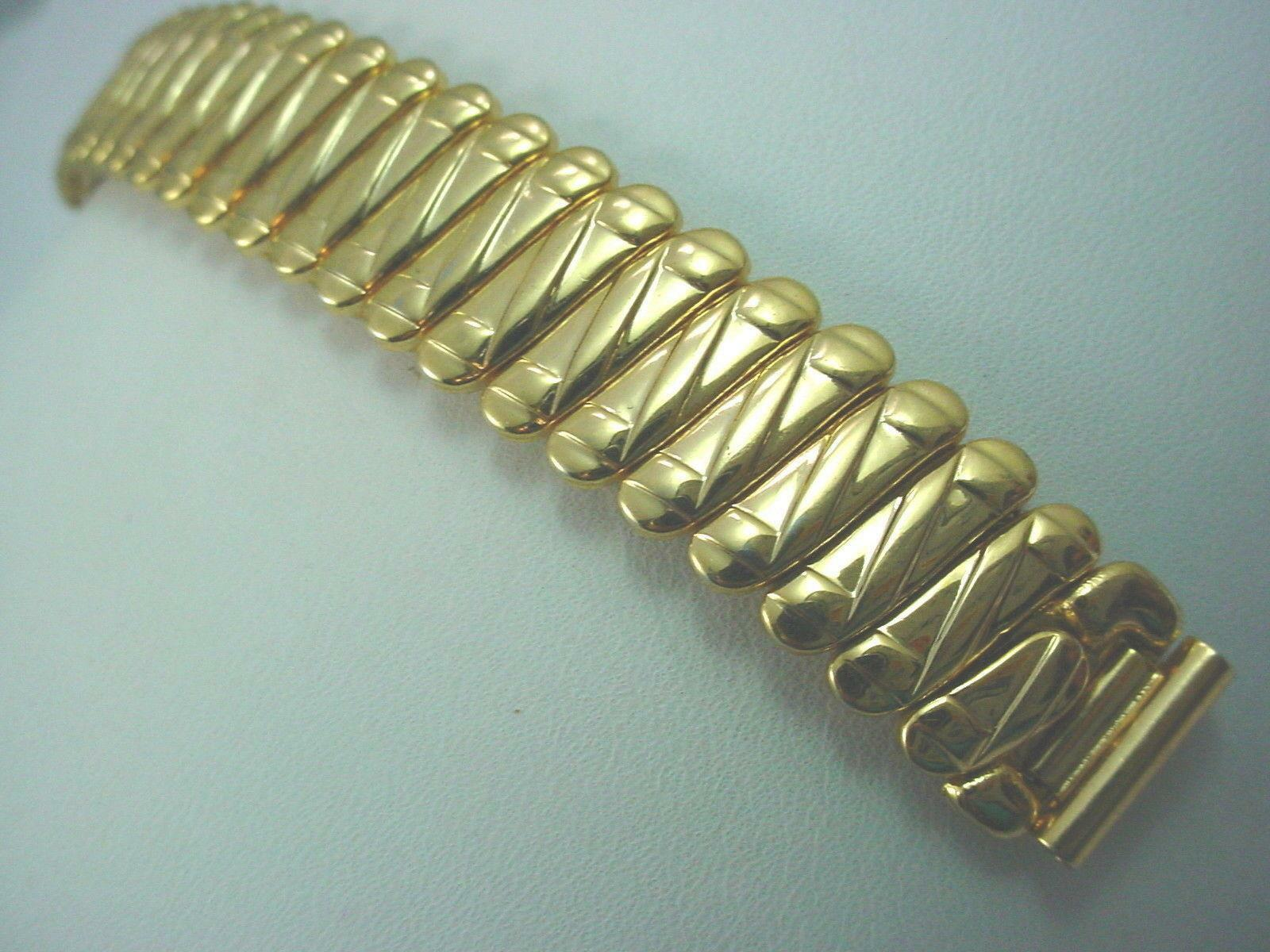 "Topps Ladies Vintage Watch Band Gold Tone 13mm 1/2"" Scissor Expansion New Old St"