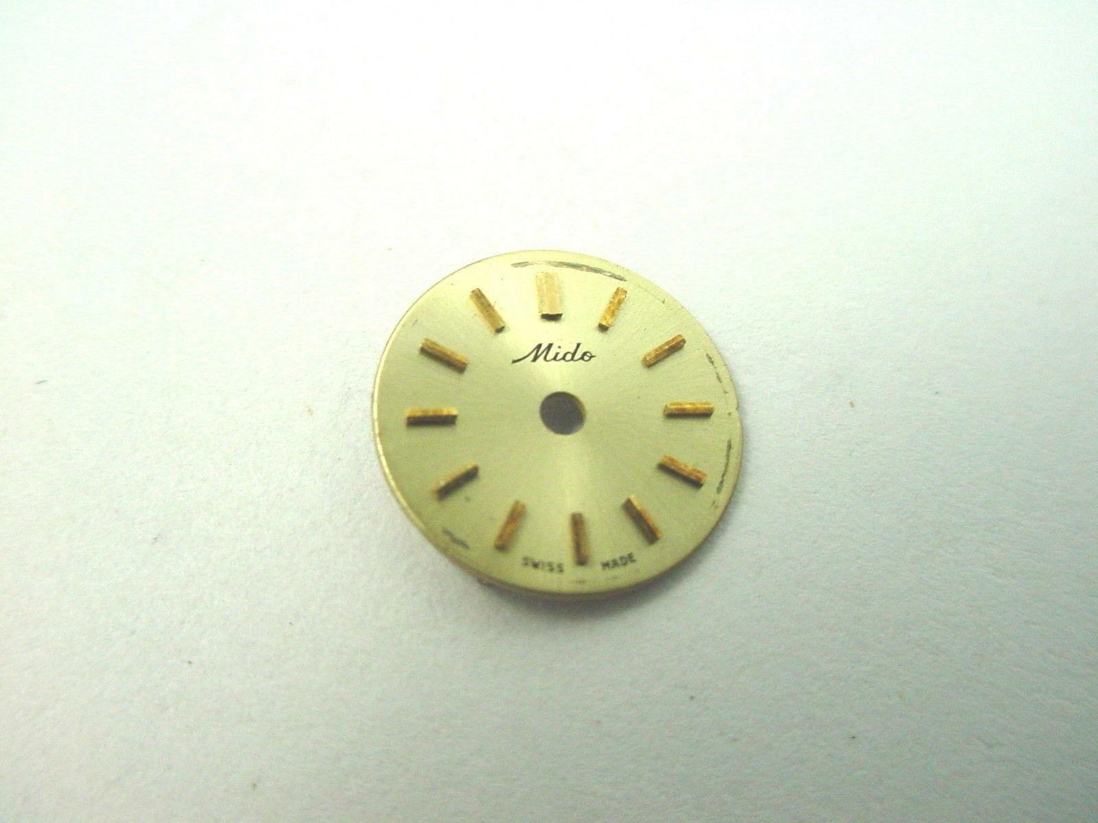 Vintage Mido Watch Dial Gold with Gold Stick Markers 11.49mm New Old Stock