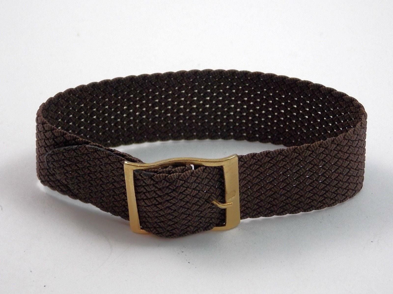 Kalbe Brown Nylon Mens 21mm Vintage Wrist Band Gold Tone Buckle New Old Stock