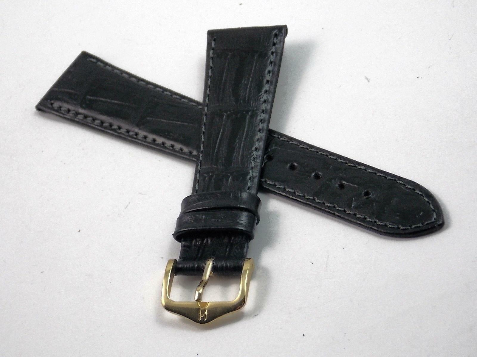 Watch Band Mens Hirsch Duke 20mm Vintage Water & Allergy Resistant Black Leather