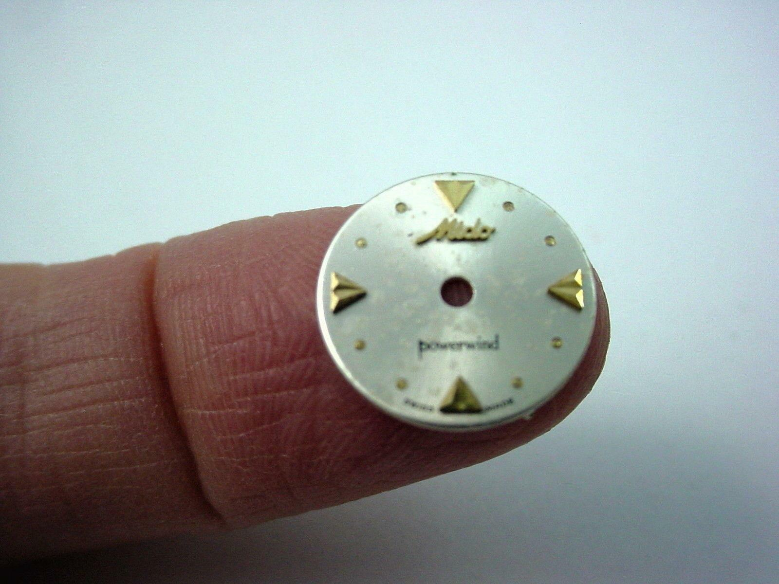 Vintage Watch Dial Pearl 12.97mm Mido Powerwind Gold Arrow and Dot Markers NOS