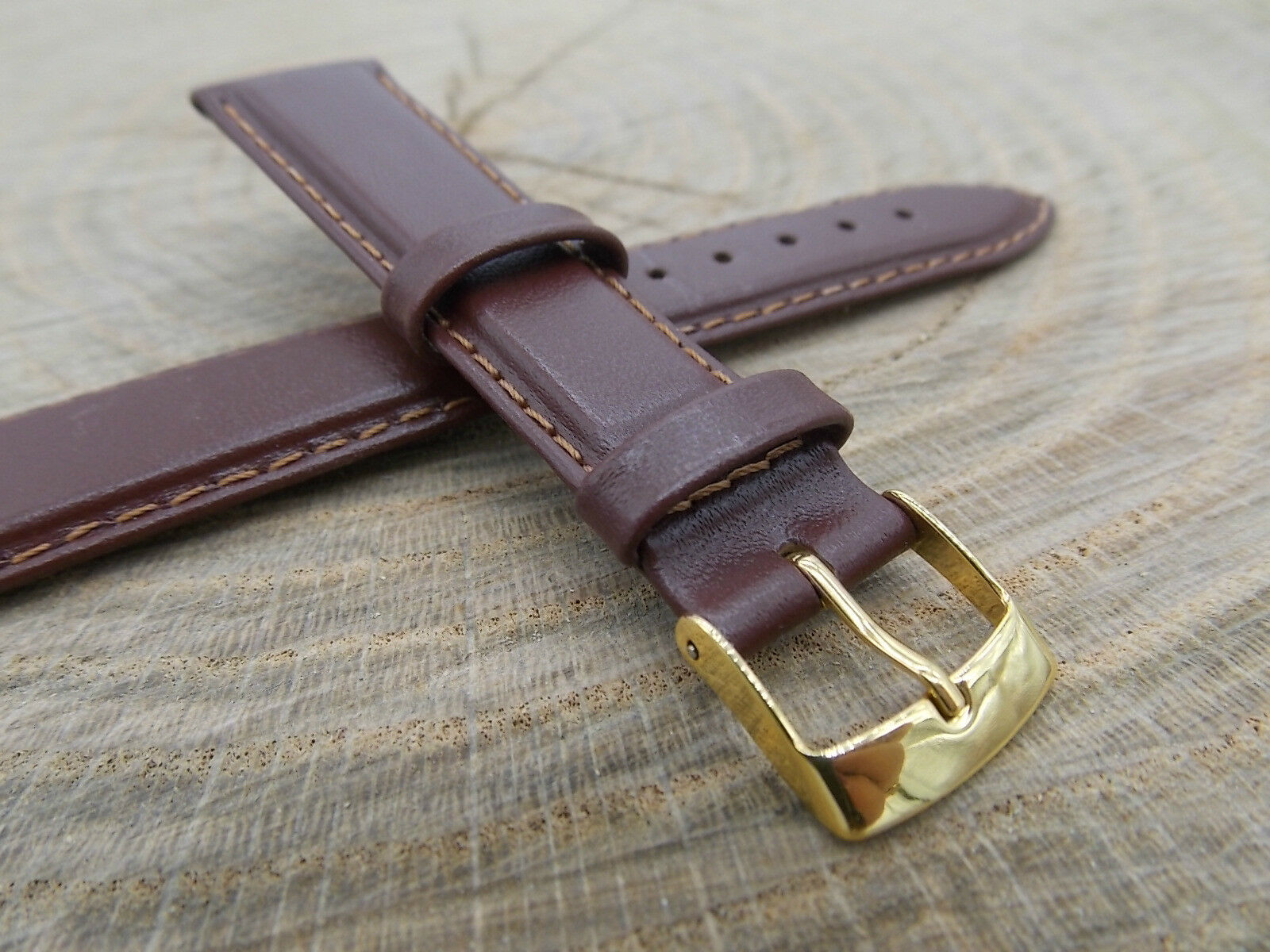 Mens Vintage Watch Band Water Resistant Hirsch Brumby 18mm Brown Leather NOS