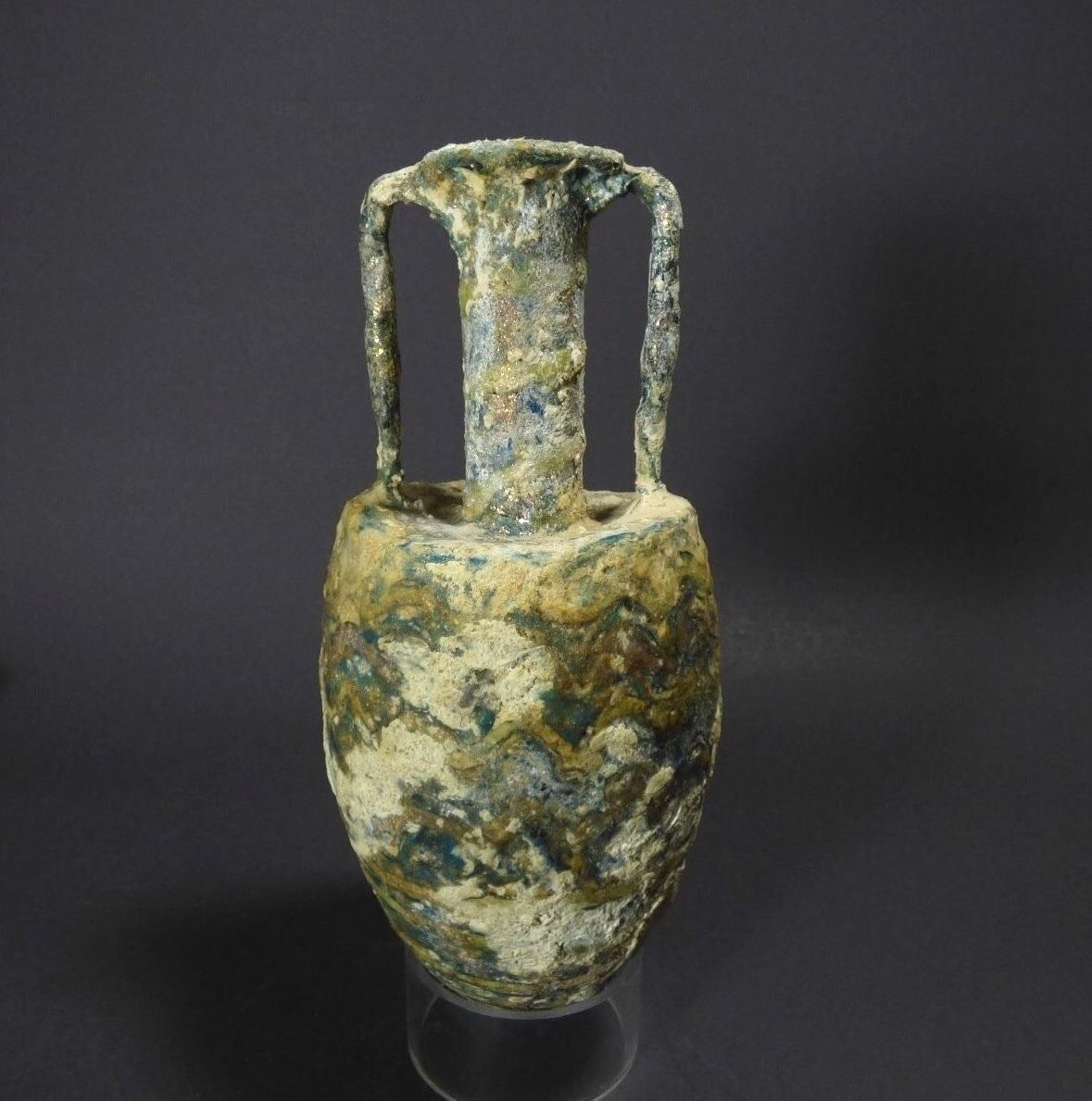 *aphrodite Gallery* Ancient Large Islamic Core Formed Glass Amphora