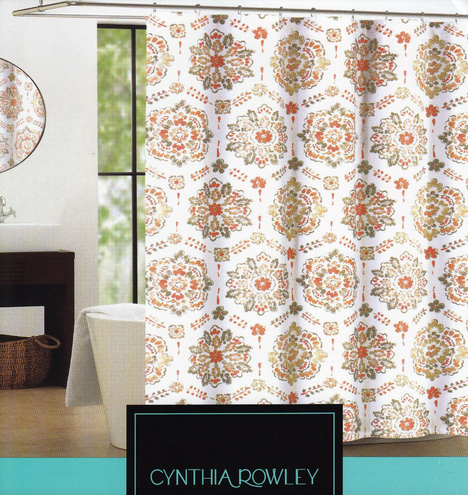Cynthia Rowley Shower Curtain Clover Medallion Coral Taupe
