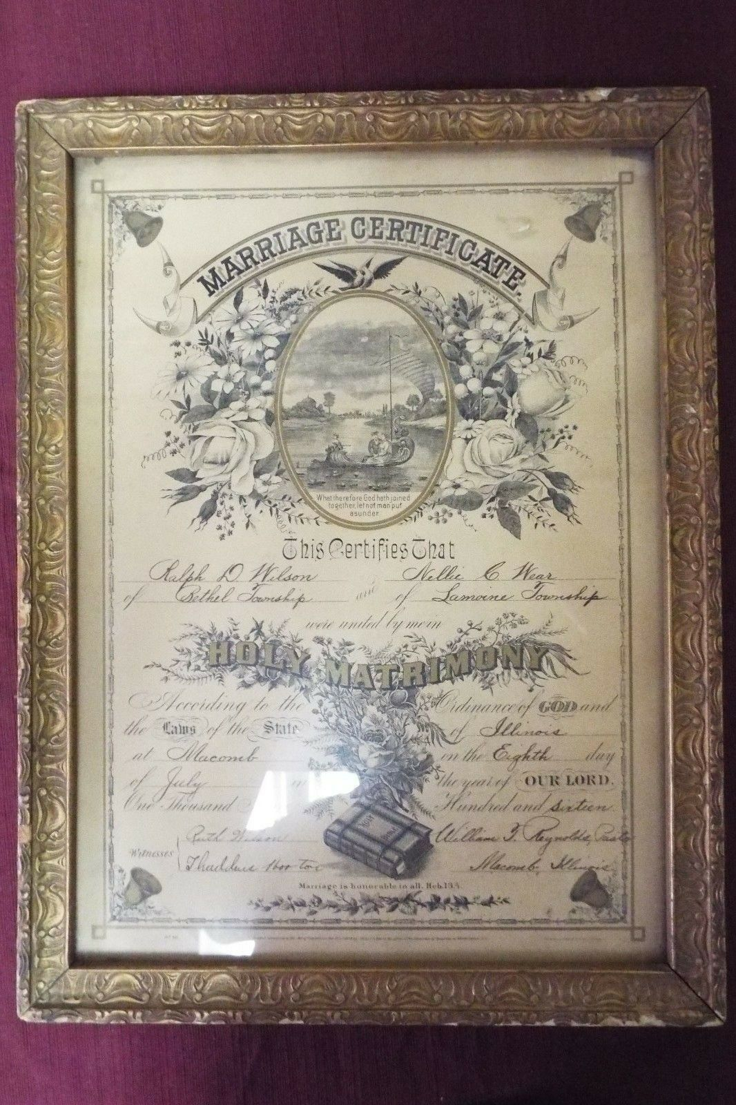 Antique Marriage Certificate - 1916