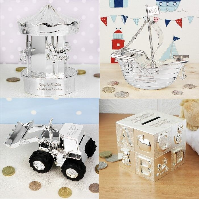 Silver Plated Baby Gifts Australia : Personalised silver plated money box christening birthday