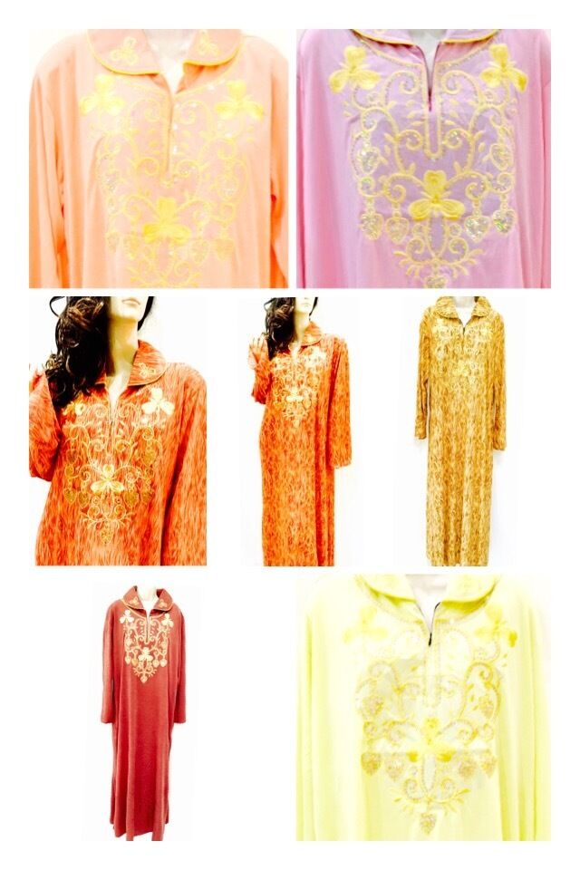 NEW Sequinned Embroidered Ladies Long Sleeved Dress Arabic House Kaftan Stretchy