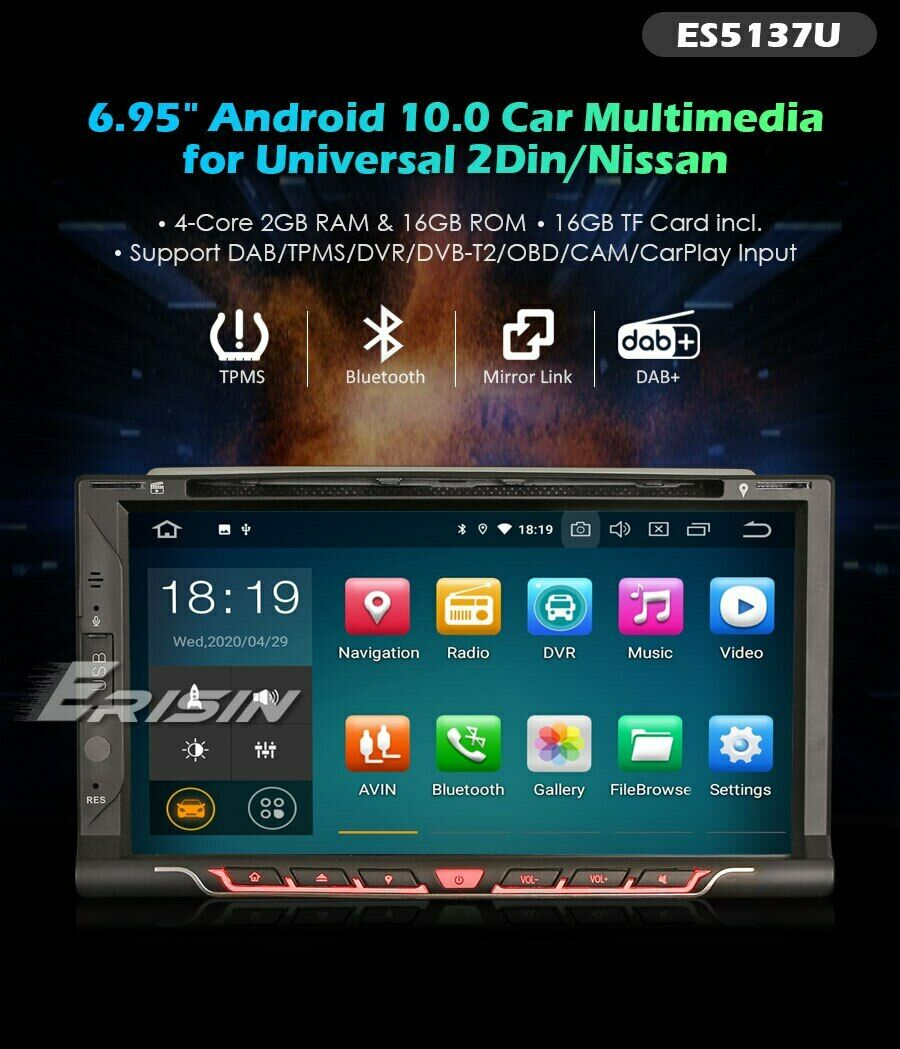 autoradio 1 din gps erisin android 6 hd dvd usb sd wi fi. Black Bedroom Furniture Sets. Home Design Ideas