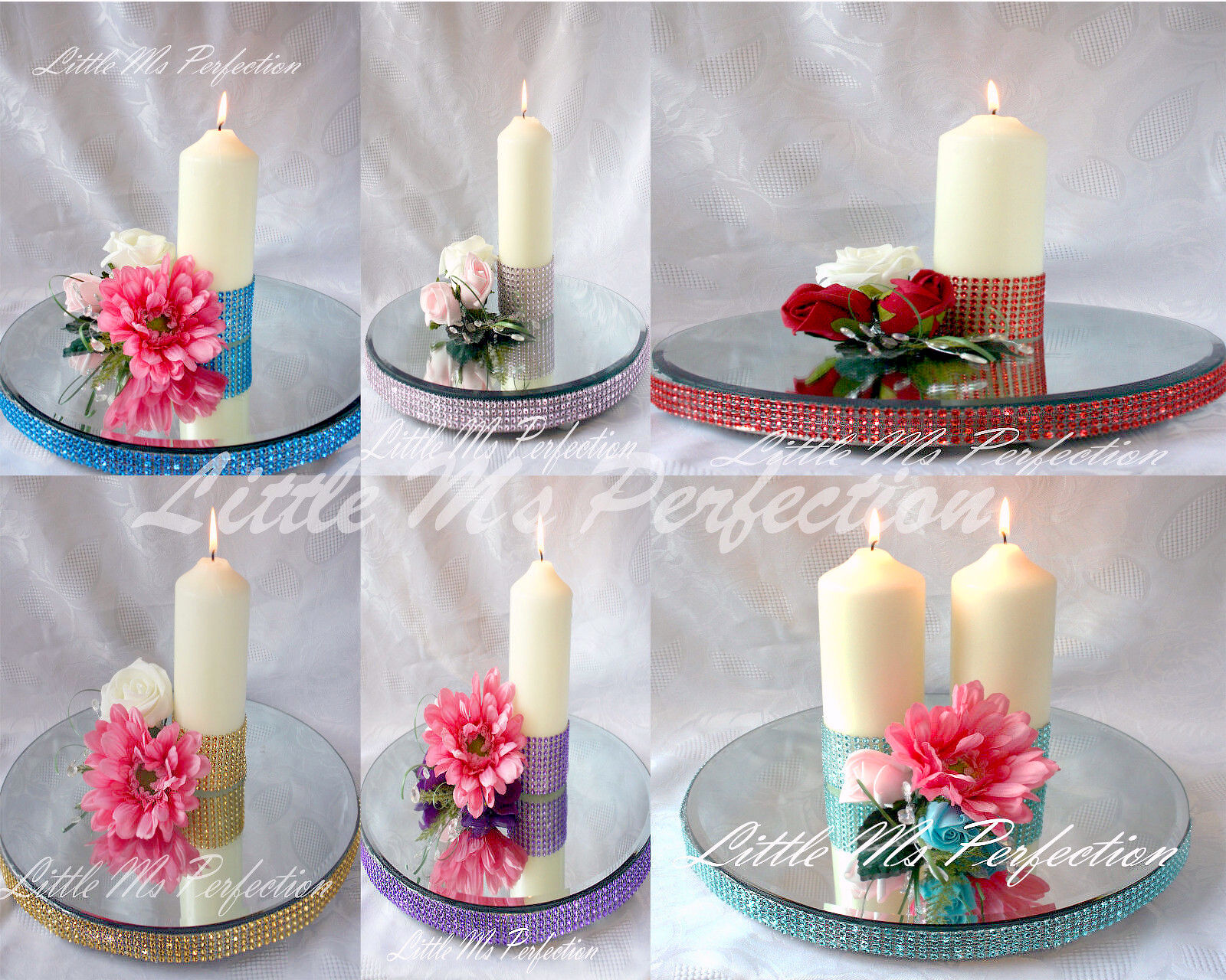 Diamante effect mirror cake stand candle plate quot