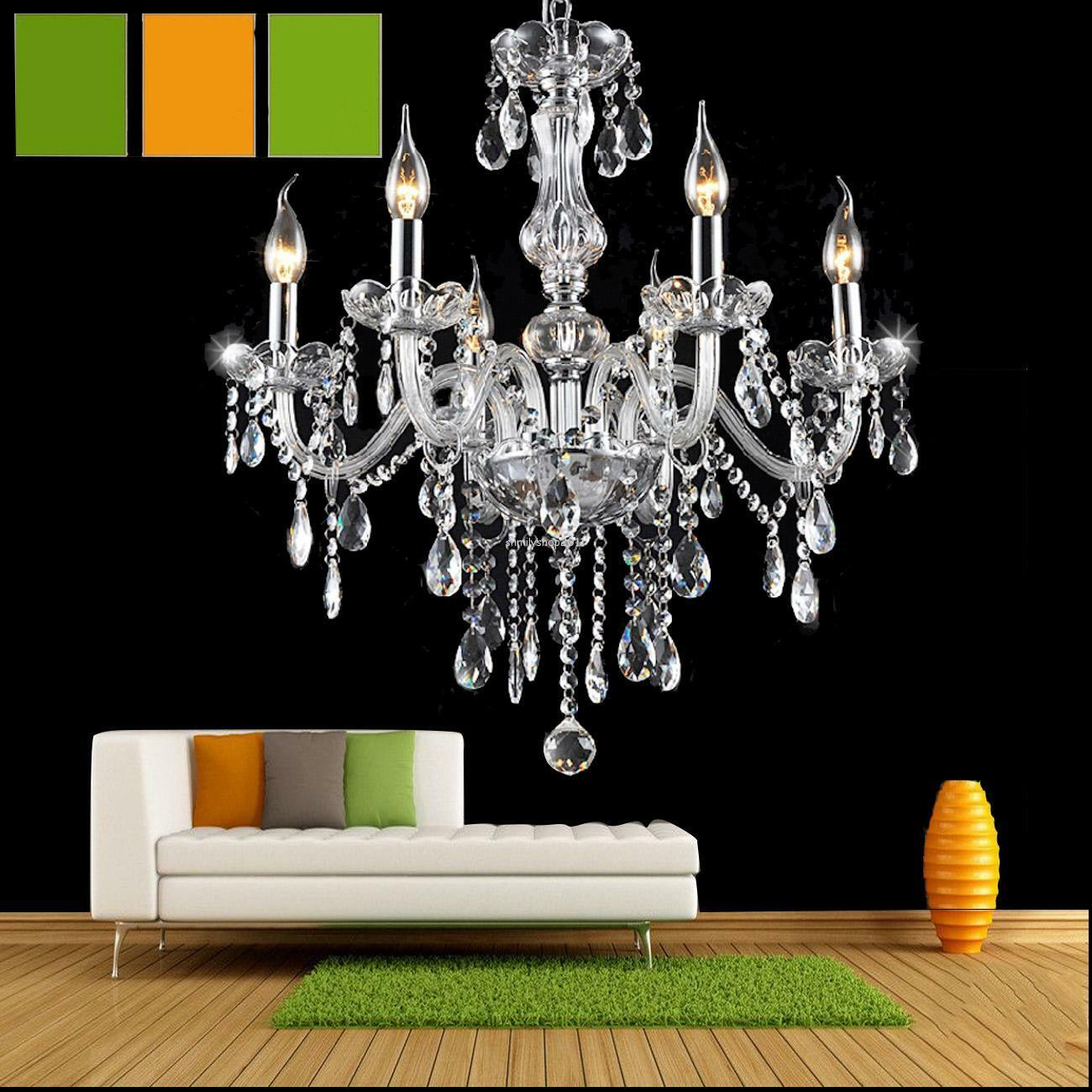 classique 6 feux pampilles lustre verre k9 cristal plafonnier lampe luminaire eur 66 99. Black Bedroom Furniture Sets. Home Design Ideas