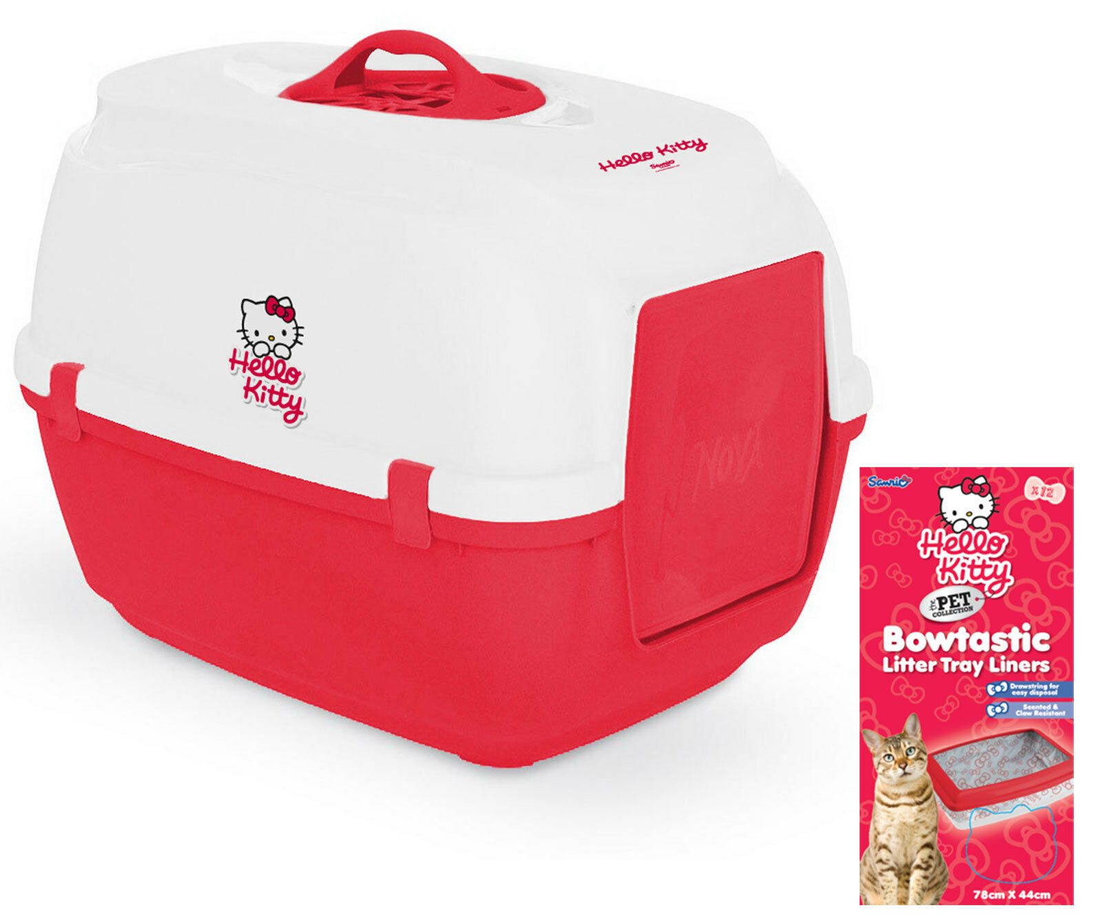 Hello Kitty Hooded Cat Litter Tray with Free Pack of Littter Tray Liners