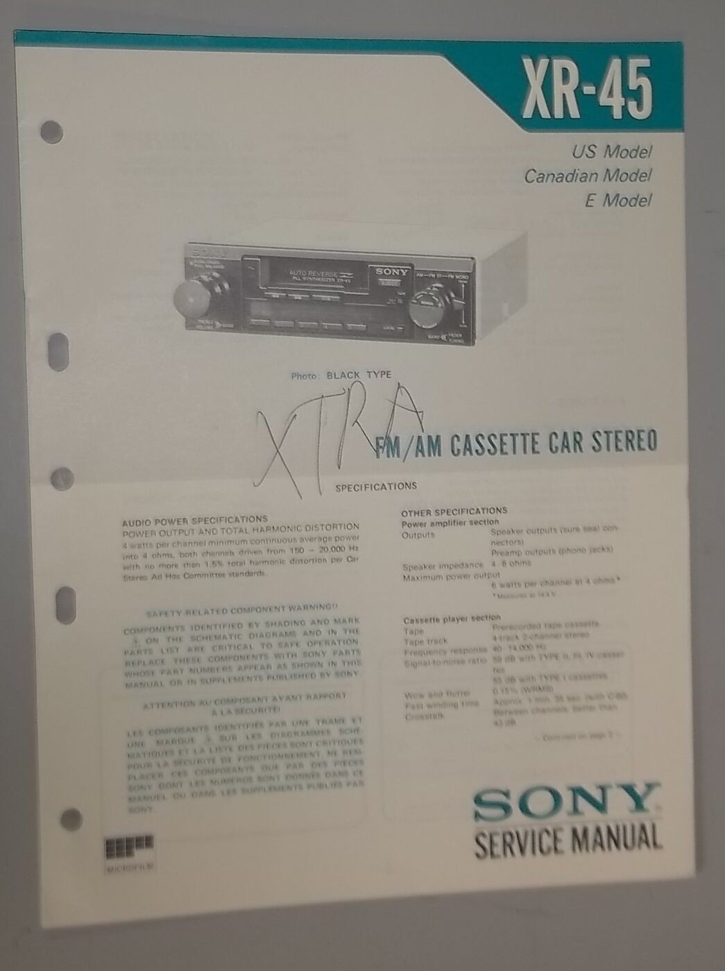 Sony Am Fm Stereo Cassette Player Xr 45 Oem Service Manual 999 Car Audio 1 Of 1only Available