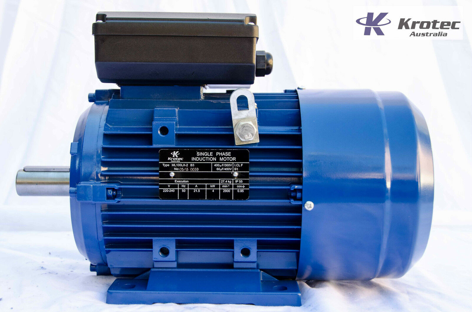 Electric motor single phase 240v 4kw 5hp 2900 rpm aud for Single phase motor drive