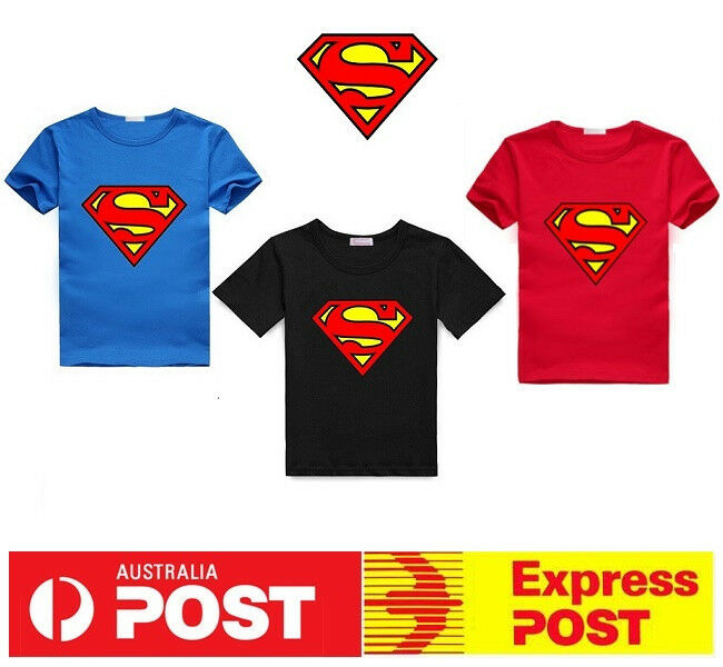 New superman super hero boys tshirt superhero kids tee top Boys superhero t shirts