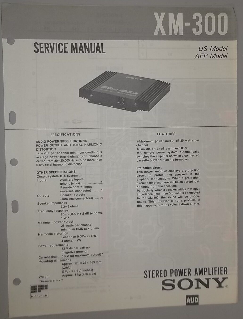 Sony Car Audio Manuals John Deere Snowblower Trs Parts Diagram Interior Design Array Stereo Power Amplifier Xm 300 Oem Service Manual 6 99 Rh Picclick