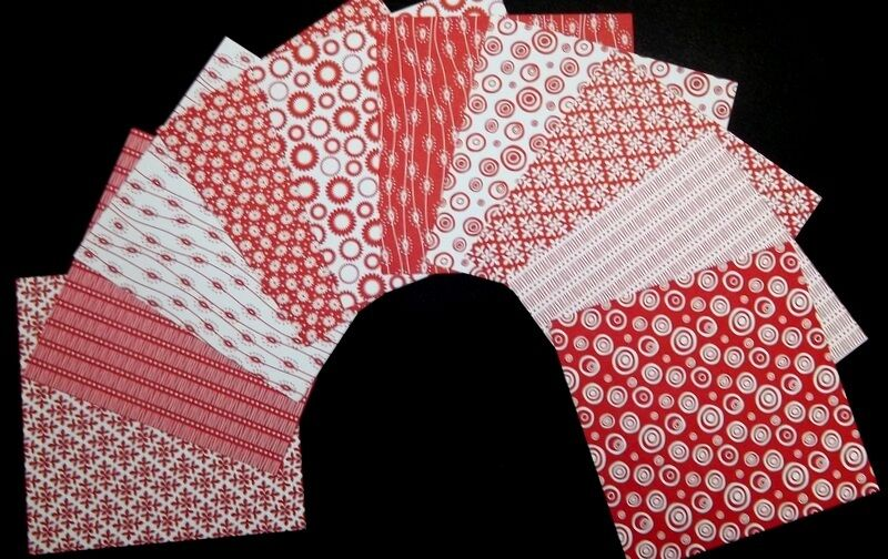 "Mono RED & WHITE  Scrapbooking Papers **15cm x 15cm** (6"" X 6"")"