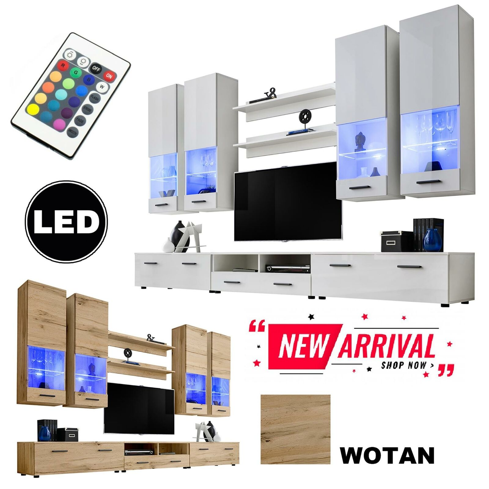 Modern living room furniture entertainment center wall unit media tv stand led 1 sur 1 voir plus