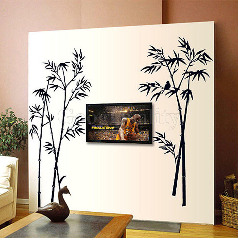 Bamboo diy removable pvc art wall sticker decal mural home for Diy wall photo mural