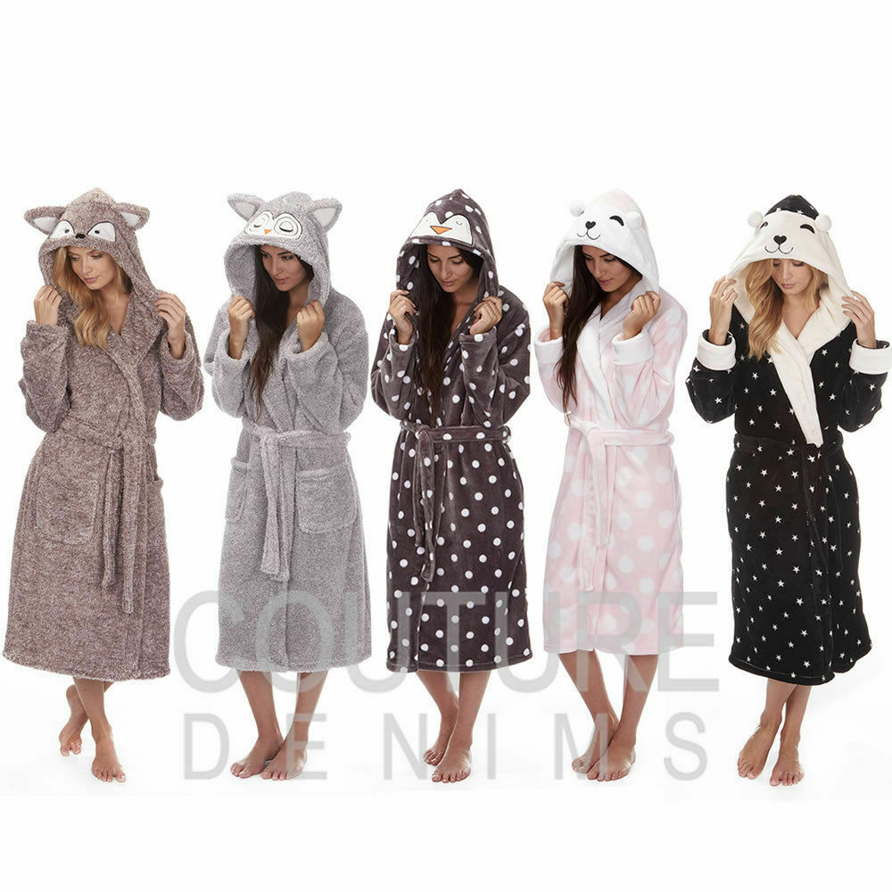LADIES DRESSING GOWN Soft Robe Character Animal Hooded Cosy Luxury ...