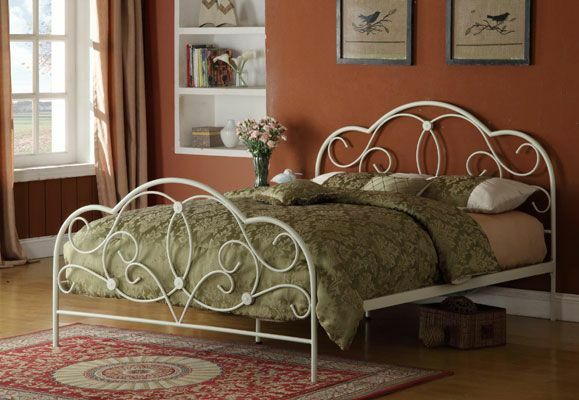bett 140x200 wei ehebett g stebett einzelbett doppelbett metallbett romantisch eur 199 90. Black Bedroom Furniture Sets. Home Design Ideas