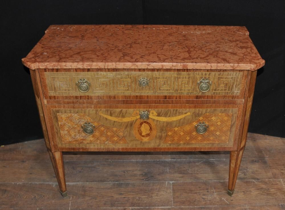 French Napoleon III Antique Commode Chest Drawers Marquetry Inlay