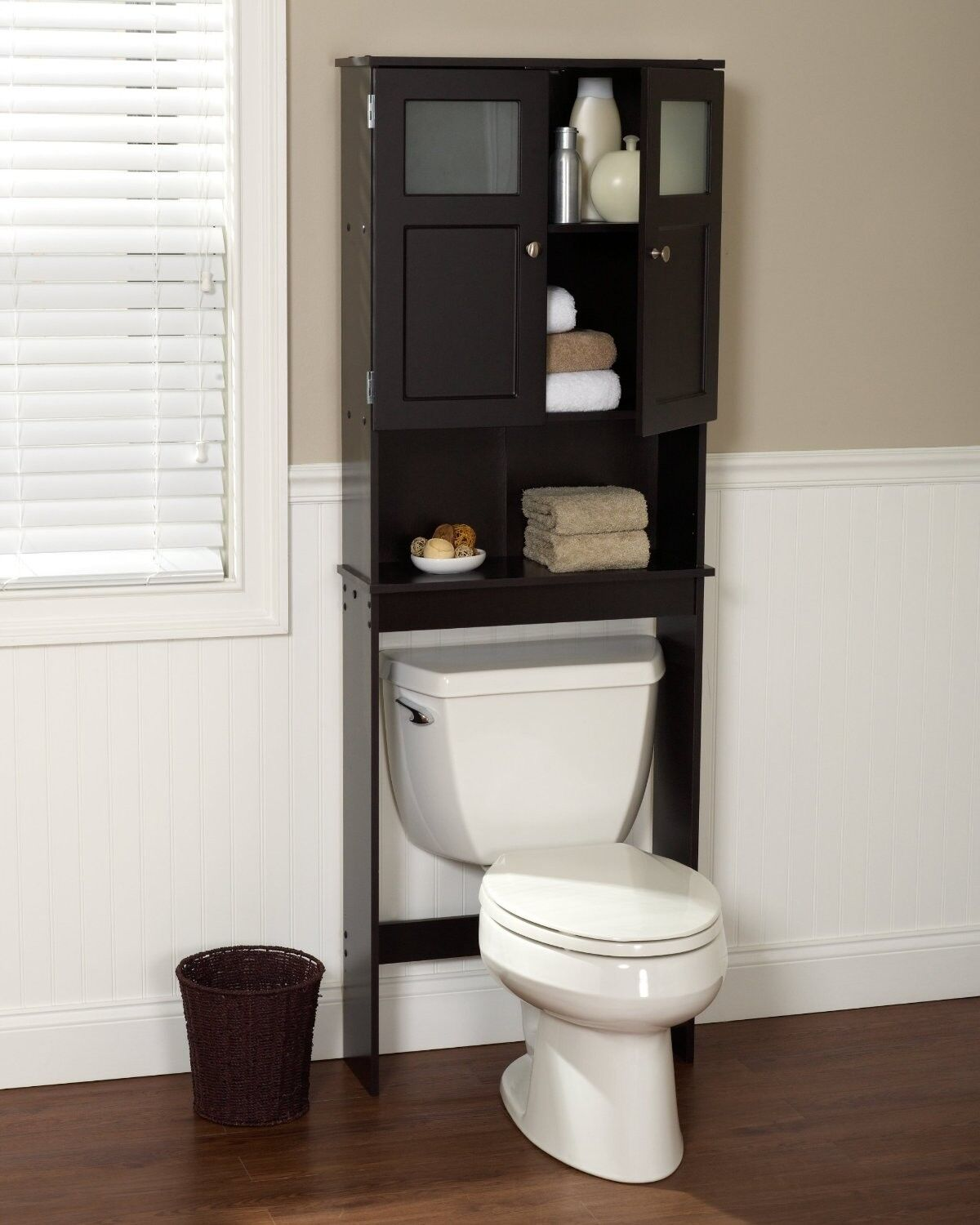 Bathroom Cabinet Over The Toilet Wood Towels Soap Storage