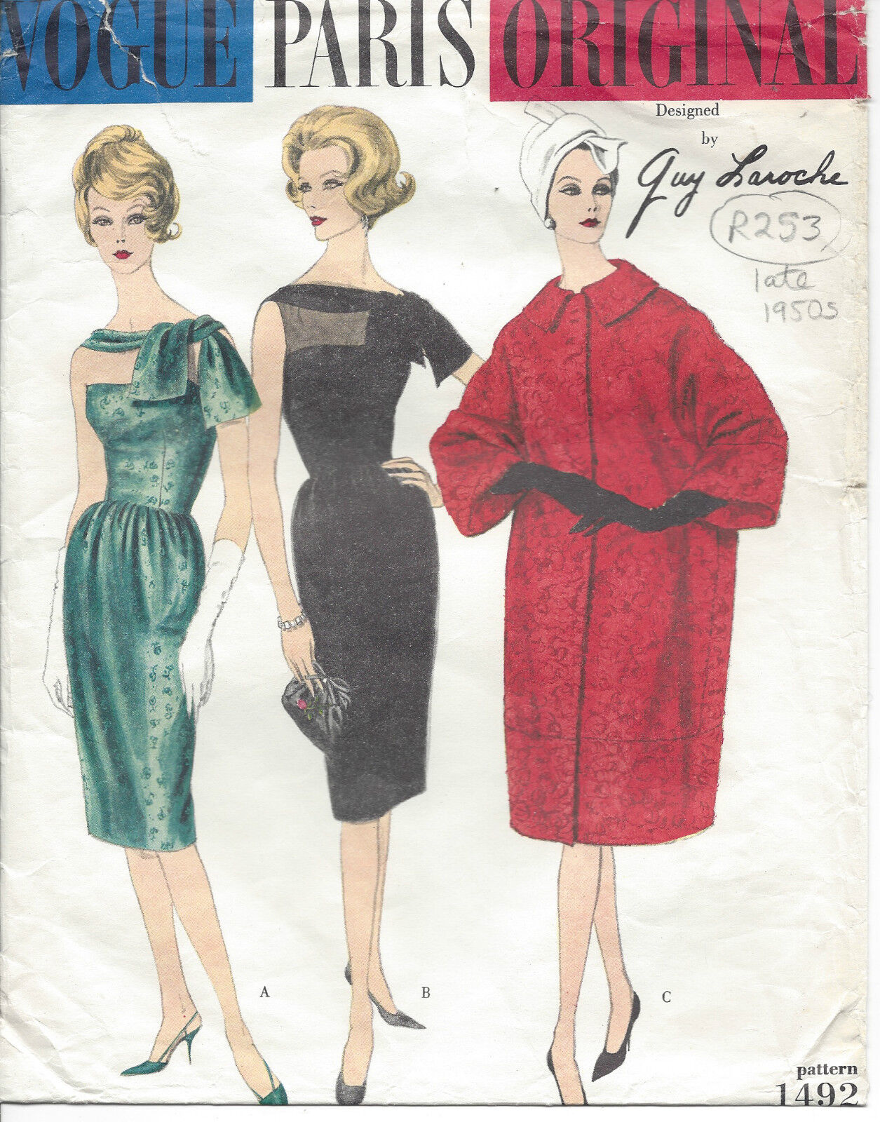 1950S VINTAGE VOGUE-SCHNITTMUSTER Mantel & Kleid B32 r253r Guy ...
