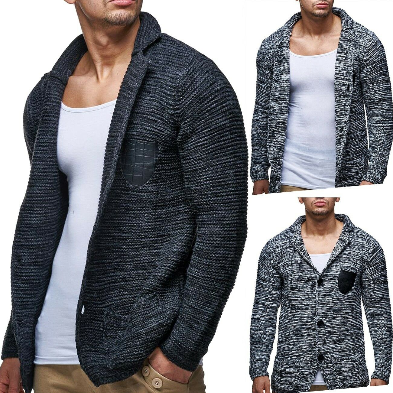 herren strickjacke cardigan grobstrick pullover elegant verschiedene farben eur 39 99. Black Bedroom Furniture Sets. Home Design Ideas