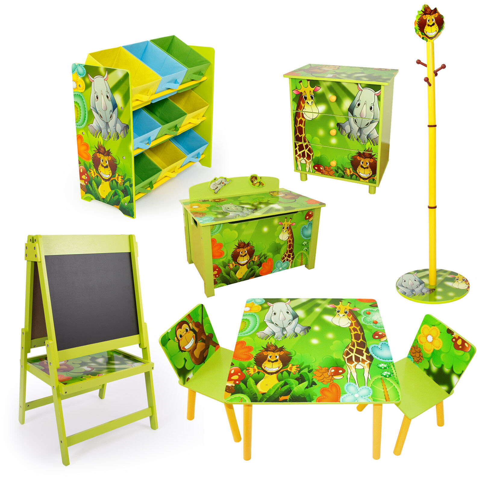 kinderm bel kinderzimmer m bel sitzgruppe spielzeugkiste tafel kommode dschungel. Black Bedroom Furniture Sets. Home Design Ideas