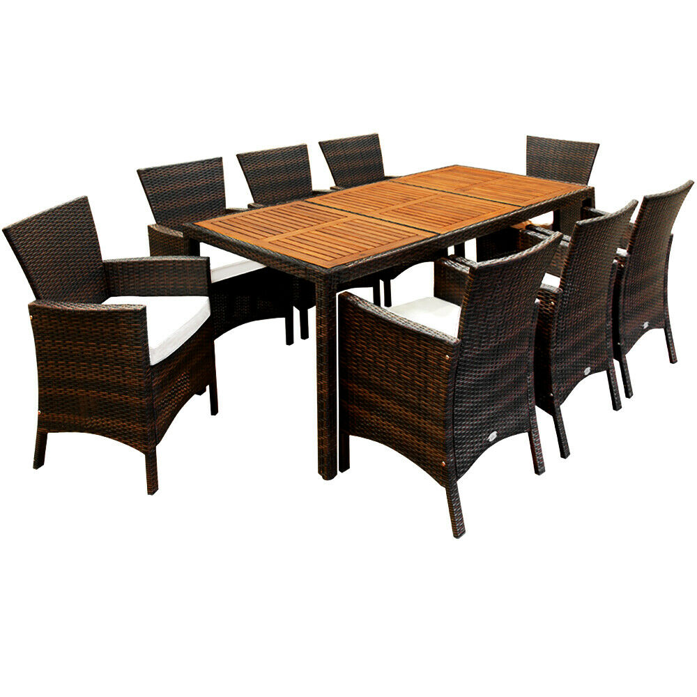 poly rattan sitzgruppe gartenm bel sitzgarnitur gartenset essgruppe holz 8 1 eur 449 95. Black Bedroom Furniture Sets. Home Design Ideas