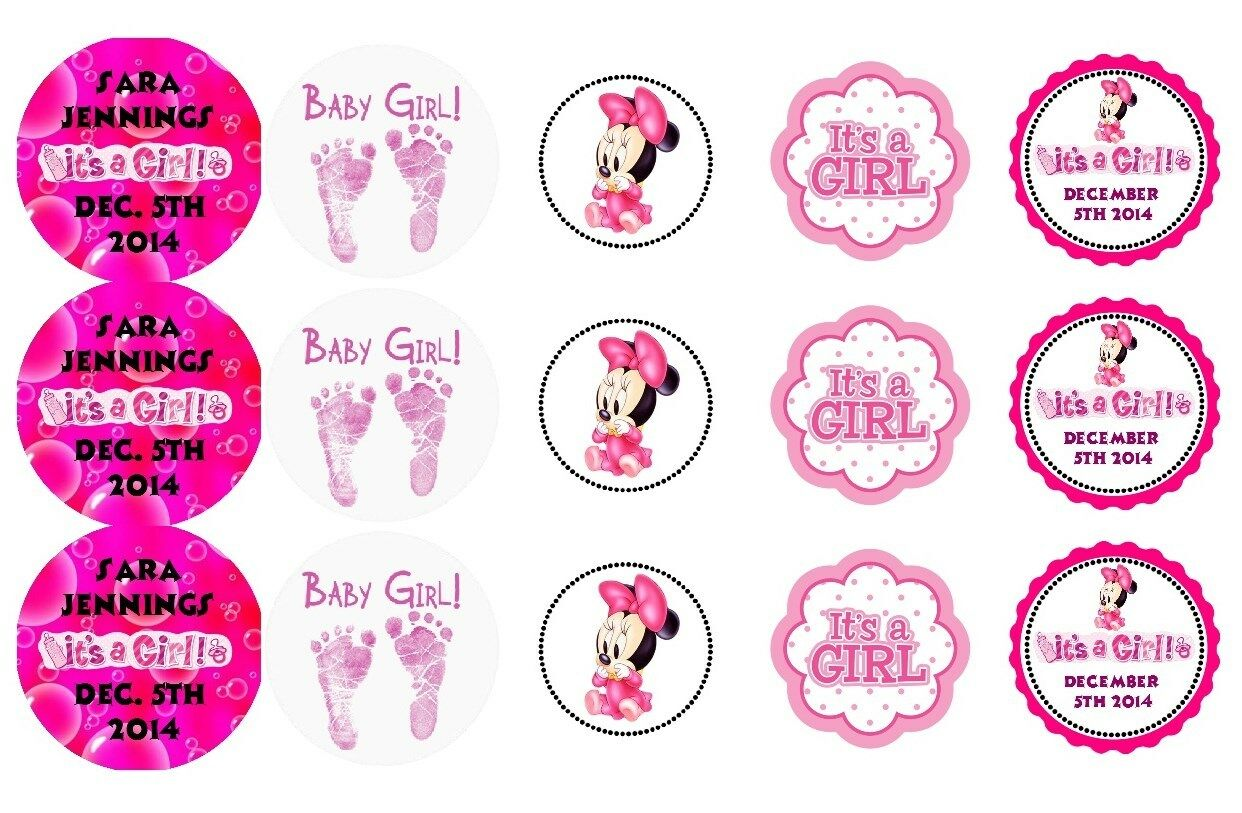 15 DISNEY BABY Girl Minnie Mouse Shower Stickers Lollipop Labels ...