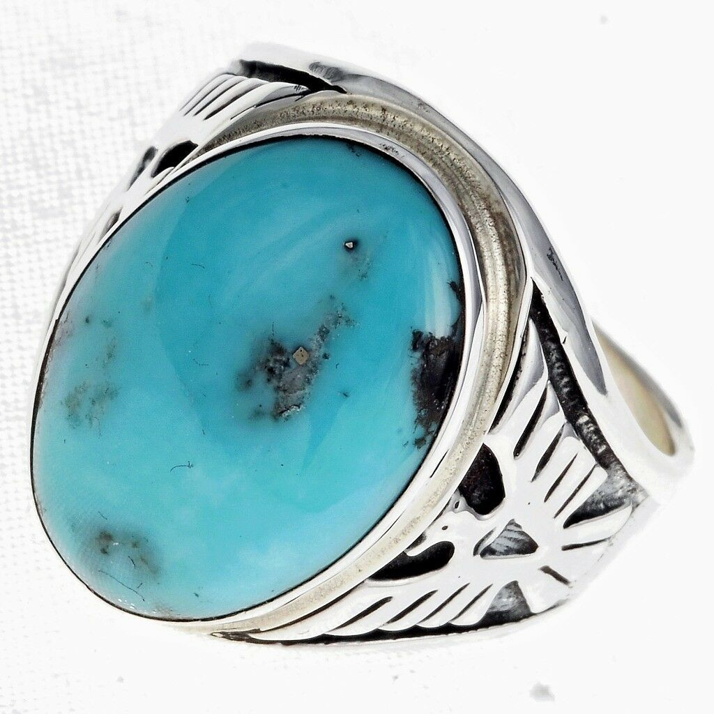 sterling silver turquoise mens ring eagle design navajo