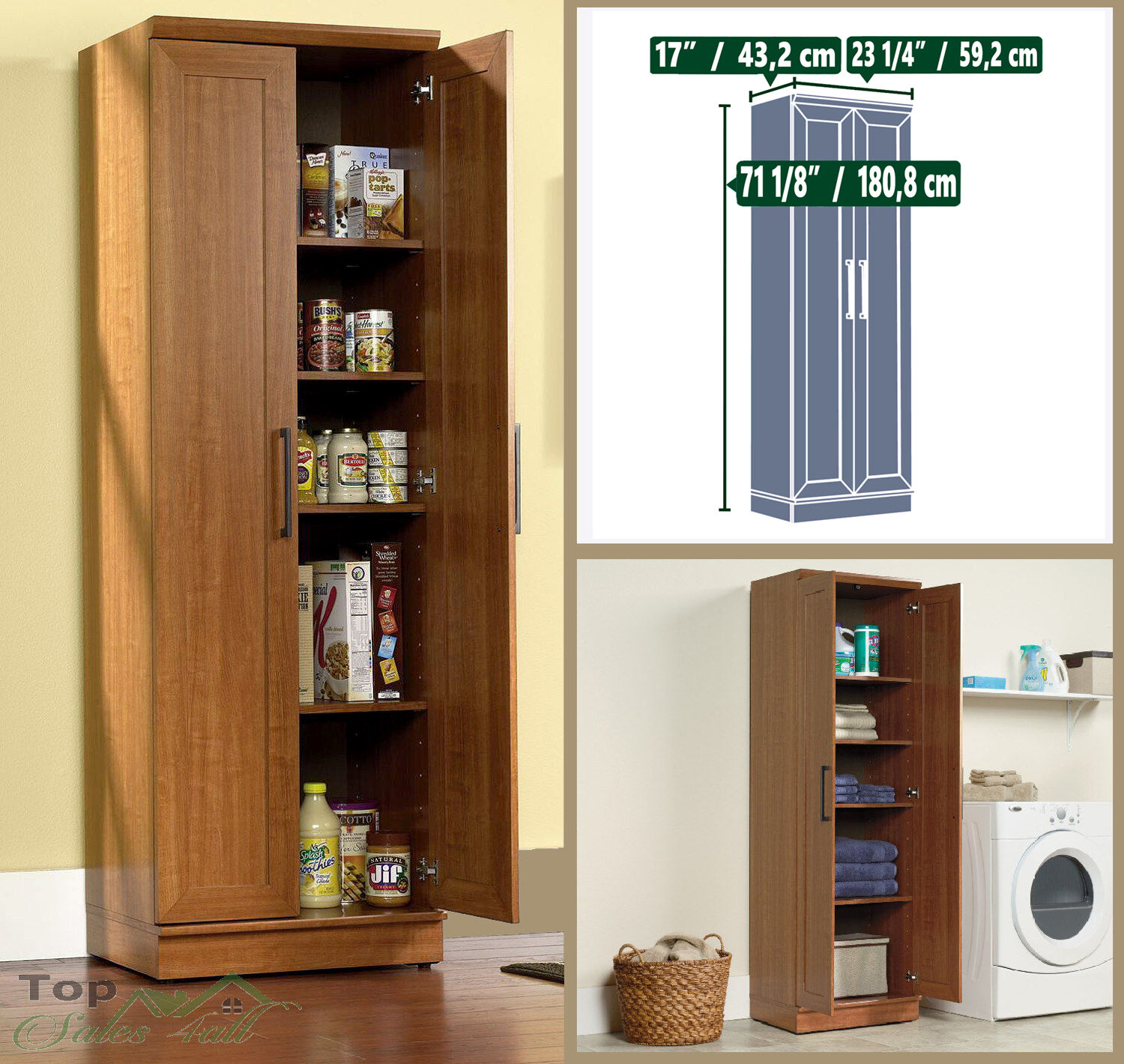 Kitchen Storage Cabinet Pantry Organizer Tall Cupboard Wood Bathroom Furniture Picclick