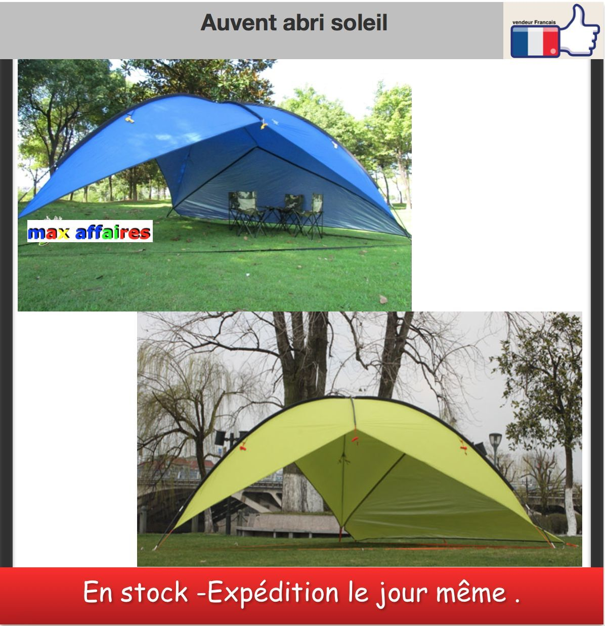 abri auvent toile soleil jardin camping tanche tente parasol 4 80 m x 4 80 m eur 151 20. Black Bedroom Furniture Sets. Home Design Ideas